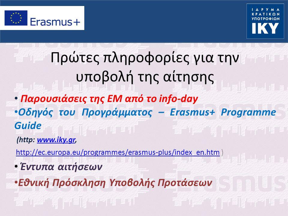 Παρουσιάσεις της ΕΜ από το info-day Οδηγός του Προγράμματος – Erasmus+ Programme Guide (http: www.iky.gr,www.iky.gr http://ec.europa.eu/programmes/erasmus-plus/index_en.htm )http://ec.europa.eu/programmes/erasmus-plus/index_en.htm Έντυπα αιτήσεων Εθνική Πρόσκληση Υποβολής Προτάσεων Πρώτες πληροφορίες για την υποβολή της αίτησης