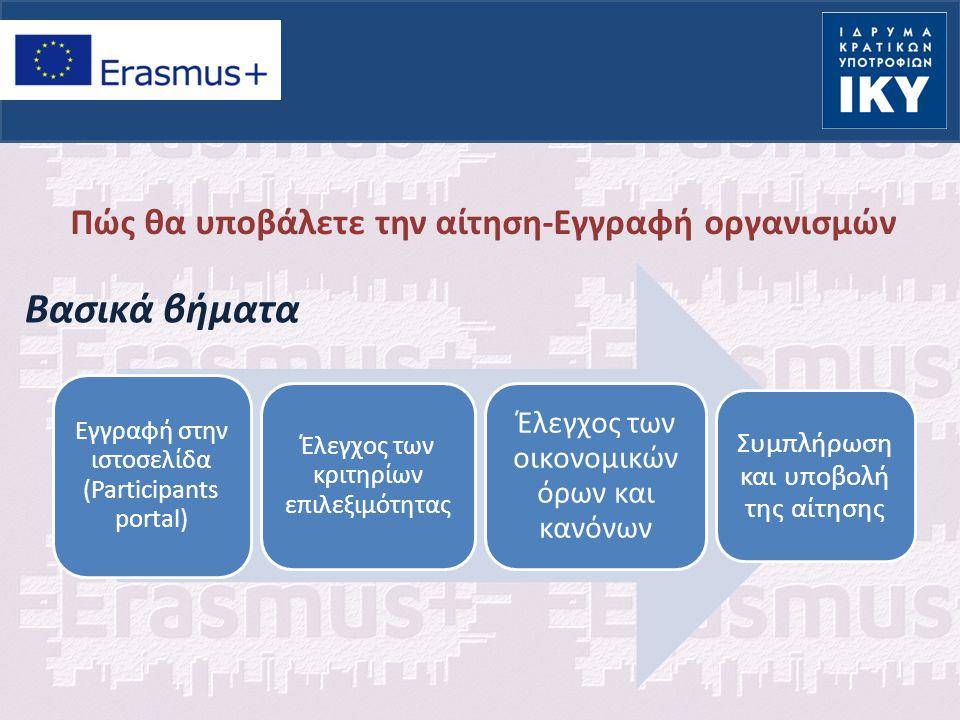 Πώς θα υποβάλετε την αίτηση-Εγγραφή οργανισμών Βασικά βήματα Εγγραφή στην ιστοσελίδα (Participants portal) Έλεγχος των κριτηρίων επιλεξιμότητας Έλεγχος των οικονομικών όρων και κανόνων Συμπλήρωση και υποβολή της αίτησης