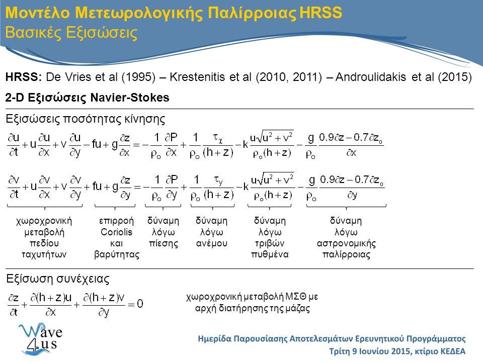 Μοντέλο Μετεωρολογικής Παλίρροιας HRSS Ειδικές Παραμετροποιήσεις Β) Προσομοίωση των οριζόντιων δινών: μοντέλο τύπου Smagorisky Συντελεστής C S =0.1 (Rogallo & Moin 1984) για υπολογισμό τυρβώδους κινηματικής συνεκτικότητας Α) Υπολογισμός διατμητικών τάσεων στη διεπιφάνεια νερού/αέρα W: ταχύτητα ανέμου στα 10m C D : συντελεστής τριβής ελεύθερης επιφάνειας Smith & Banke (1975) Γ) Αστρονομική παλίρροια από Schwiderski (1980) Συνιστώσες: M2, S2, N2, K2, K1, O1, P1, Q1 Δ) Υπολογισμός κυματογενούς ανύψωσης (Dean & Dalrymple, 2002; Goda, 1985)