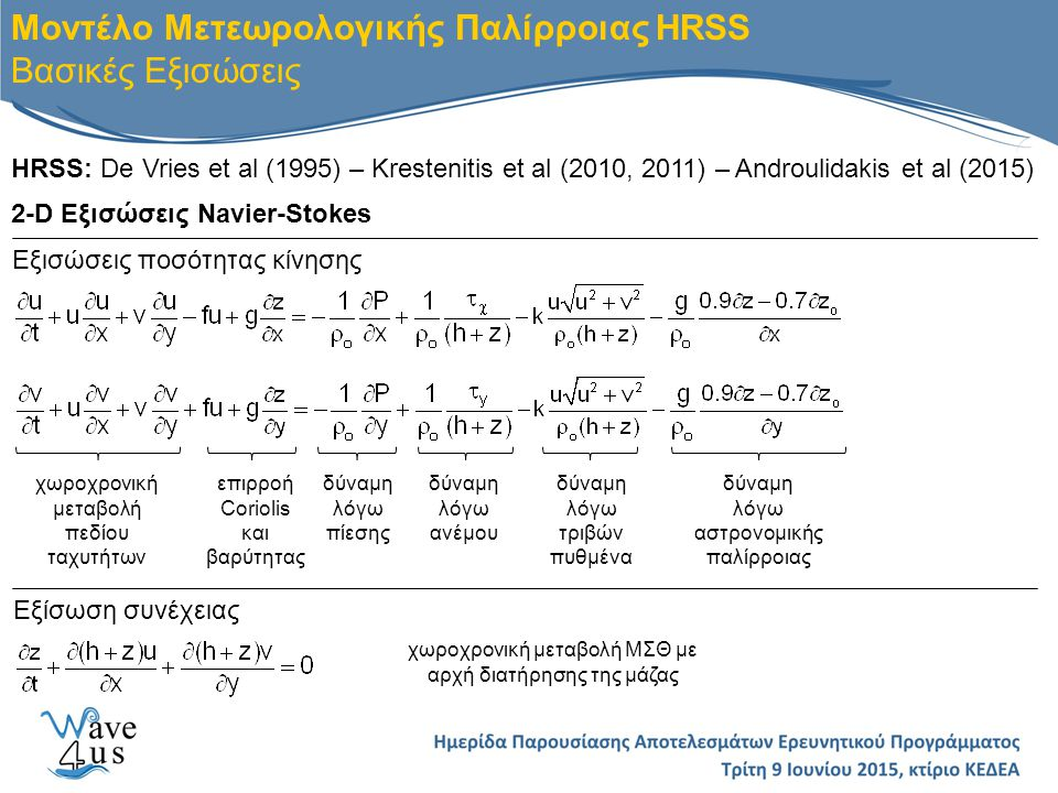 HRSS: De Vries et al (1995) – Krestenitis et al (2010, 2011) – Androulidakis et al (2015) Μοντέλο Μετεωρολογικής Παλίρροιας HRSS Βασικές Εξισώσεις 2-D