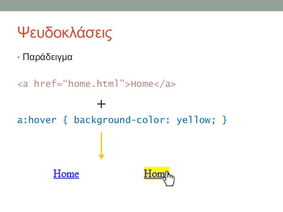 Ψευδοκλάσεις Παράδειγμα Home + a:hover { background-color: yellow; }