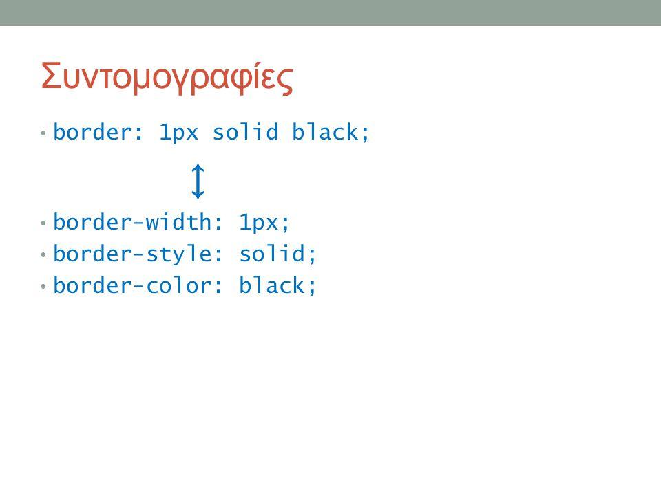 Συντομογραφίες border: 1px solid black; ↕ border-width: 1px; border-style: solid; border-color: black;