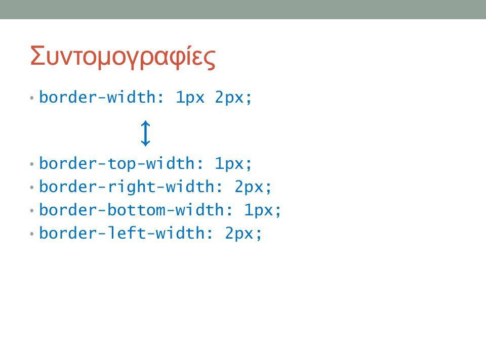 Συντομογραφίες border-width: 1px 2px; ↕ border-top-width: 1px; border-right-width: 2px; border-bottom-width: 1px; border-left-width: 2px;