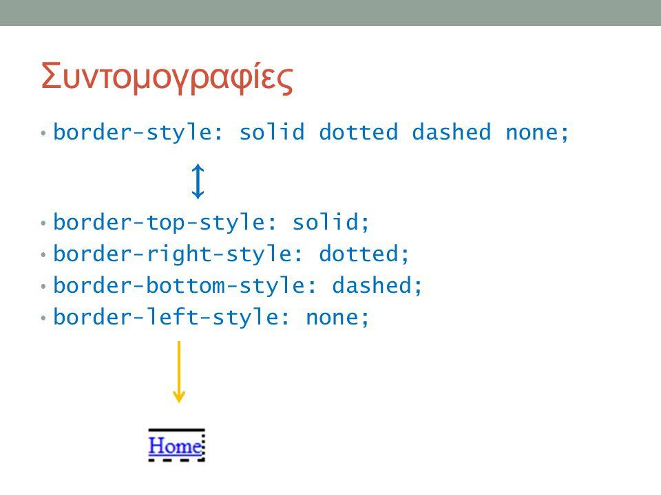 Συντομογραφίες border-style: solid dotted dashed none; ↕ border-top-style: solid; border-right-style: dotted; border-bottom-style: dashed; border-left-style: none;