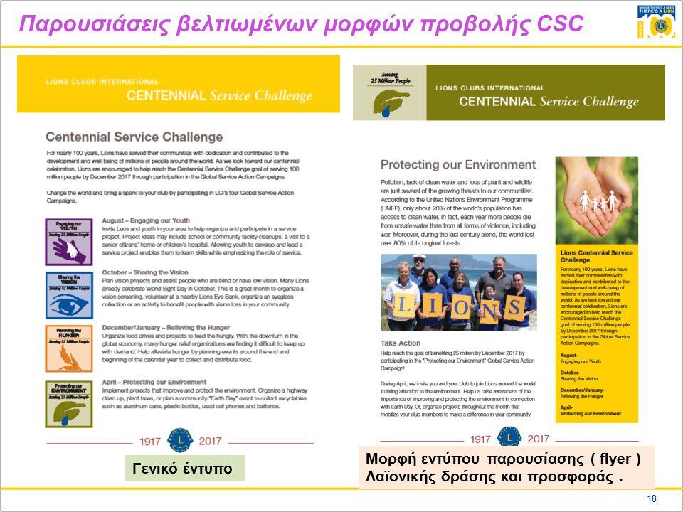 18 Παρουσιάσεις βελτιωμένων μορφών προβολής CSC Μορφή εντύπου παρουσίασης ( flyer ) Λαϊονικής δράσης και προσφοράς.