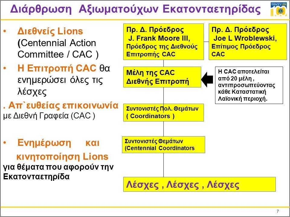 7 Διάρθρωση Αξιωματούχων Εκατονταετηρίδας Διεθνείς Lions (Centennial Action Cοmmittee / CAC ) Η Επιτροπή CAC θα ενημερώσει όλες τις λέσχες.