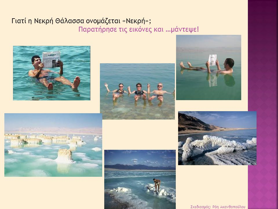 Σχεδιασμός: Ρόη Ακανθοπούλου Γιατί η Νεκρή Θάλασσα ονομάζεται «Νεκρή»; Παρατήρησε τις εικόνες και …μάντεψε!
