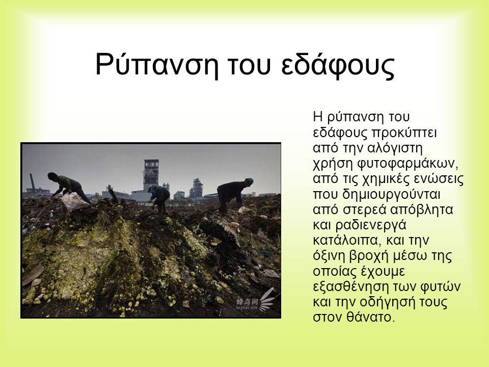 Ρύπανση του εδάφους Η ρύπανση του εδάφους προκύπτει από την αλόγιστη χρήση φυτοφαρμάκων, από τις χημικές ενώσεις που δημιουργούνται από στερεά απόβλητ