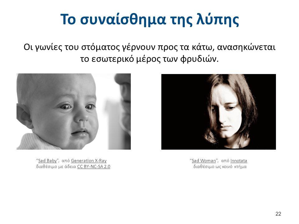 """Το συναίσθημα της λύπης Οι γωνίες του στόματος γέρνουν προς τα κάτω, ανασηκώνεται το εσωτερικό μέρος των φρυδιών. 22 """"Sad Baby"""", από Generation X-RayS"""