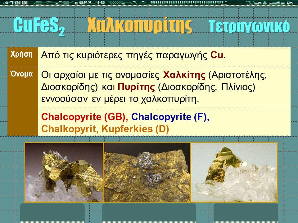 Χρήση Από τις κυριότερες πηγές παραγωγής Cu. Όνομα Οι αρχαίοι με τις ονομασίες Χαλκίτης (Αριστοτέλης, Διοσκορίδης) και Πυρίτης (Διοσκορίδης, Πλίνιος)