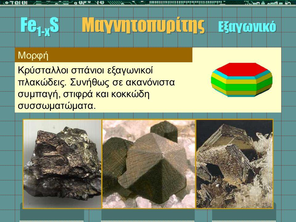 Μορφή Κρύσταλλοι σπάνιοι εξαγωνικοί πλακώδεις. Συνήθως σε ακανόνιστα συμπαγή, στιφρά και κοκκώδη συσσωματώματα. Fe 1-x S Μαγνητοπυρίτης Εξαγωνικό