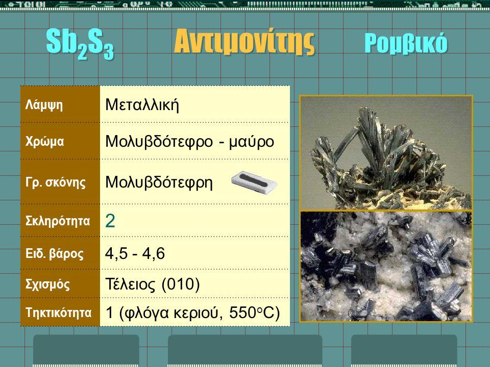 Λάμψη Μεταλλική Χρώμα Μολυβδότεφρο - μαύρο Γρ. σκόνης Μολυβδότεφρη Σκληρότητα 2 Ειδ. βάρος 4,5 - 4,6 Σχισμός Τέλειος (010) Τηκτικότητα 1 (φλόγα κεριού