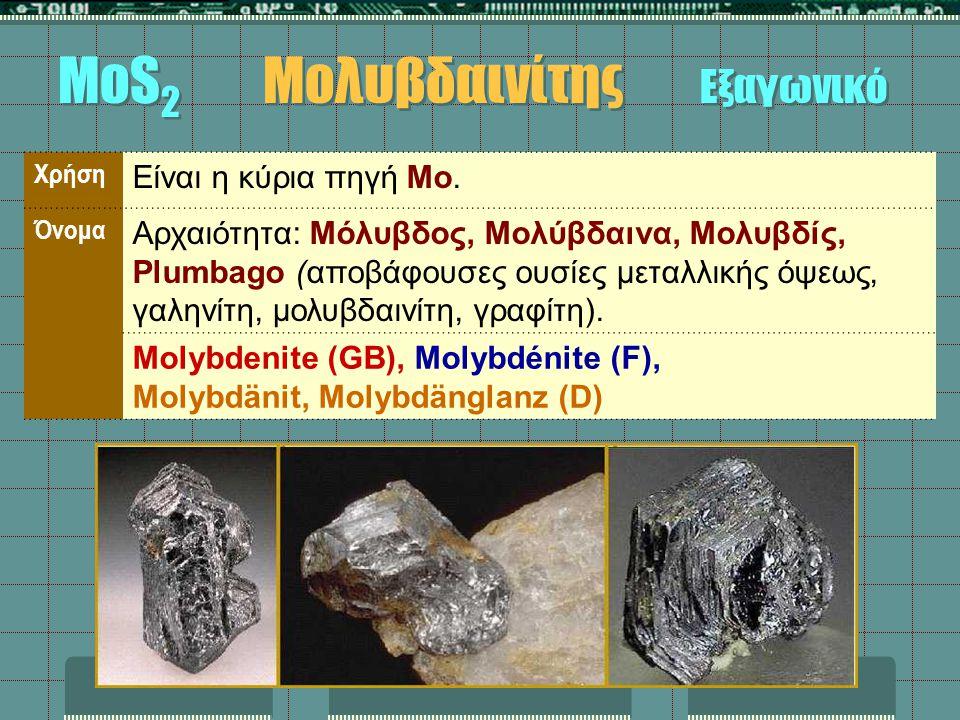 Χρήση Είναι η κύρια πηγή Mo. Όνομα Αρχαιότητα: Μόλυβδος, Μολύβδαινα, Μολυβδίς, Plumbago (αποβάφουσες ουσίες μεταλλικής όψεως, γαληνίτη, μολυβδαινίτη,
