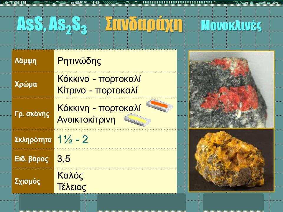 Λάμψη Ρητινώδης Χρώμα Κόκκινο - πορτοκαλί Κίτρινο - πορτοκαλί Γρ. σκόνης Κόκκινη - πορτοκαλί Ανοικτοκίτρινη Σκληρότητα 1½ - 2 Ειδ. βάρος 3,5 Σχισμός Κ