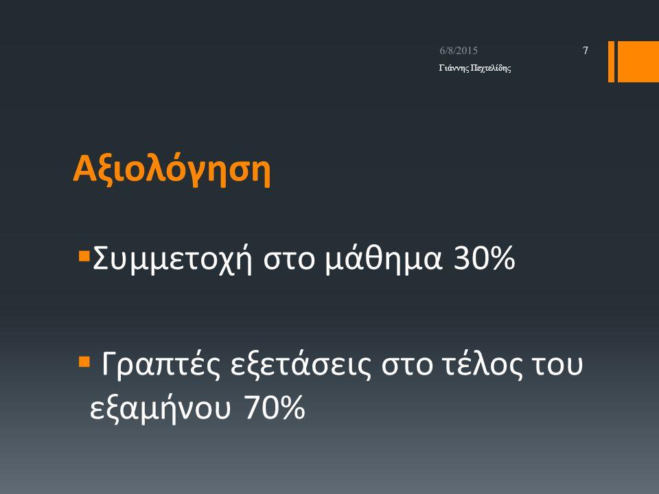 Αξιολόγηση  Συμμετοχή στο μάθημα 30%  Γραπτές εξετάσεις στο τέλος του εξαμήνου 70% 6/8/2015 Γιάννης Πεχτελίδης 7