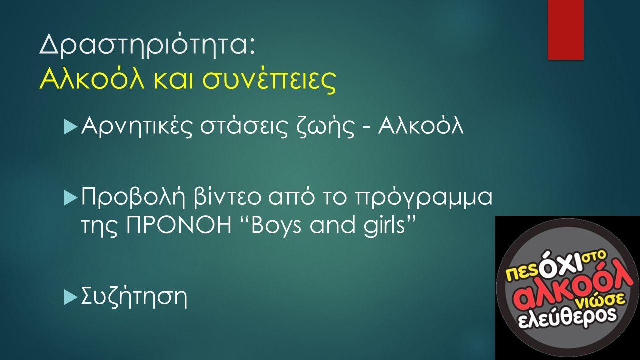 """Δραστηριότητα: Αλκοόλ και συνέπειες  Αρνητικές στάσεις ζωής - Αλκοόλ  Προβολή βίντεο από το πρόγραμμα της ΠΡΟΝΟΗ """"Boys and girls""""  Συζήτηση"""
