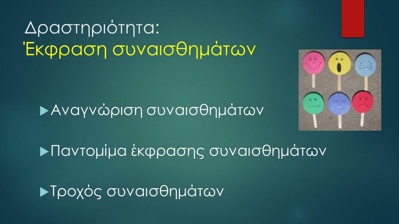 Δραστηριότητα: Έκφραση συναισθημάτων  Αναγνώριση συναισθημάτων  Παντομίμα έκφρασης συναισθημάτων  Τροχός συναισθημάτων