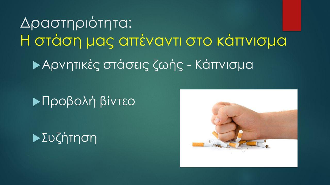 Δραστηριότητα: Η στάση μας απέναντι στο κάπνισμα  Αρνητικές στάσεις ζωής - Κάπνισμα  Προβολή βίντεο  Συζήτηση