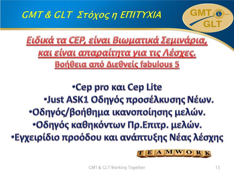 GMT & GLT Στόχος η ΕΠΙΤΥΧΙΑ GMT & GLT Working Together15