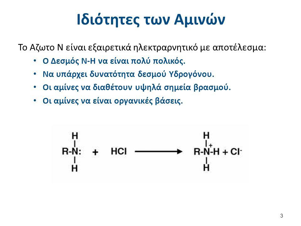 Ιδιότητες των Αμινών Το Αζωτο Ν είναι εξαιρετικά ηλεκτραρνητικό με αποτέλεσμα: Ο Δεσμός Ν-Η να είναι πολύ πολικός. Να υπάρχει δυνατότητα δεσμού Υδρογό