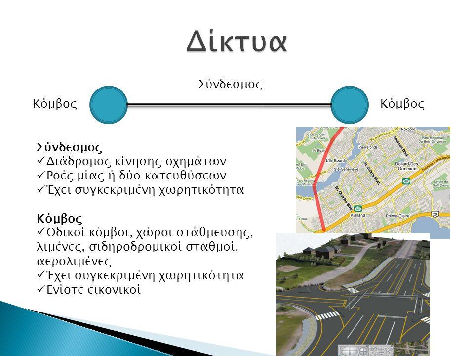 Κόμβος Σύνδεσμος Διάδρομος κίνησης οχημάτων Ροές μίας ή δύο κατευθύσεων Έχει συγκεκριμένη χωρητικότητα Κόμβος Οδικοί κόμβοι, χώροι στάθμευσης, λιμένες, σιδηροδρομικοί σταθμοί, αερολιμένες Έχει συγκεκριμένη χωρητικότητα Ενίοτε εικονικοί