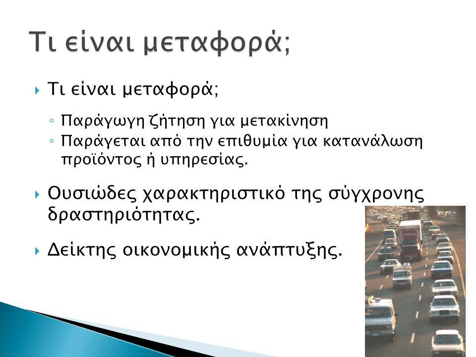  Τι είναι μεταφορά; ◦ Παράγωγη ζήτηση για μετακίνηση ◦ Παράγεται από την επιθυμία για κατανάλωση προϊόντος ή υπηρεσίας.