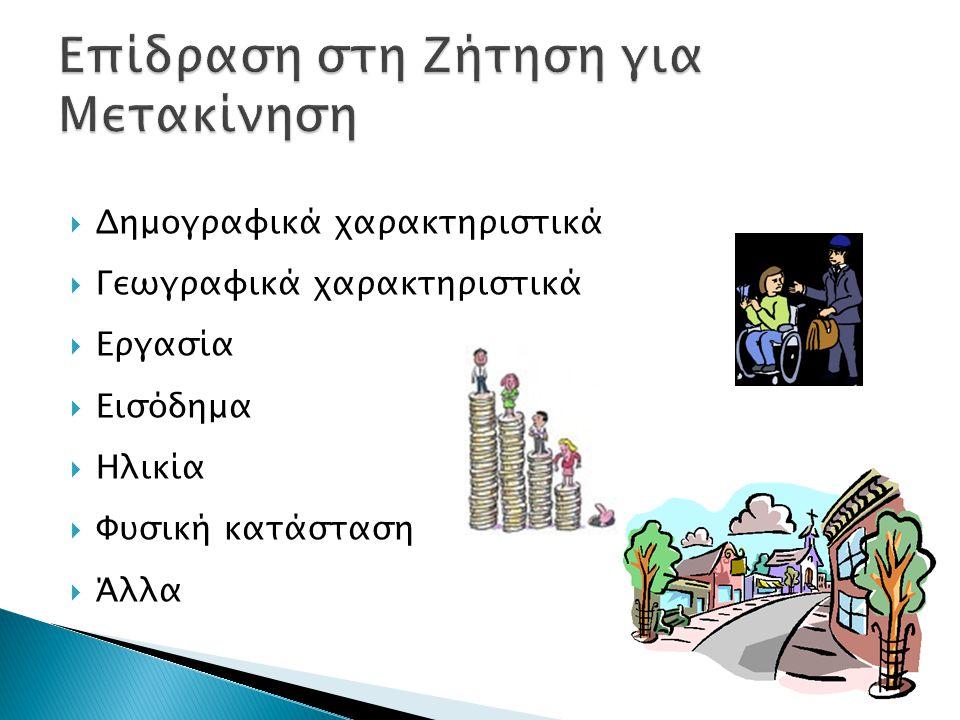  Δημογραφικά χαρακτηριστικά  Γεωγραφικά χαρακτηριστικά  Εργασία  Εισόδημα  Ηλικία  Φυσική κατάσταση  Άλλα