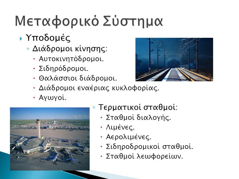  Υποδομές ◦ Διάδρομοι κίνησης:  Αυτοκινητόδρομοι.
