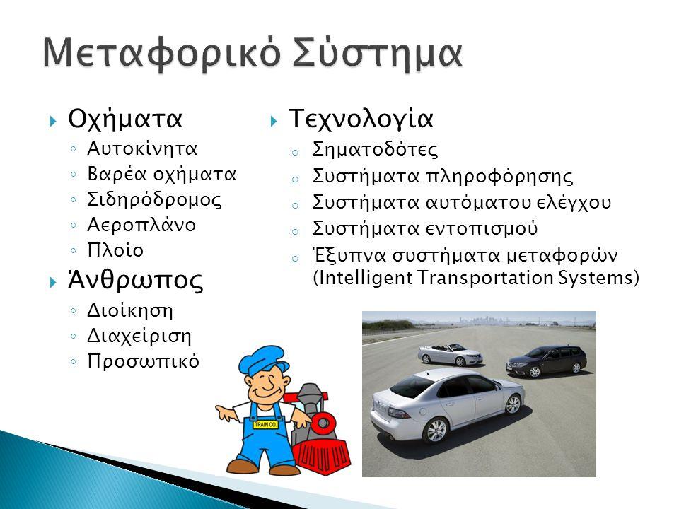  Οχήματα ◦ Αυτοκίνητα ◦ Βαρέα οχήματα ◦ Σιδηρόδρομος ◦ Αεροπλάνο ◦ Πλοίο  Άνθρωπος ◦ Διοίκηση ◦ Διαχείριση ◦ Προσωπικό  Τεχνολογία o Σηματοδότες o Συστήματα πληροφόρησης o Συστήματα αυτόματου ελέγχου o Συστήματα εντοπισμού o Έξυπνα συστήματα μεταφορών (Intelligent Transportation Systems)