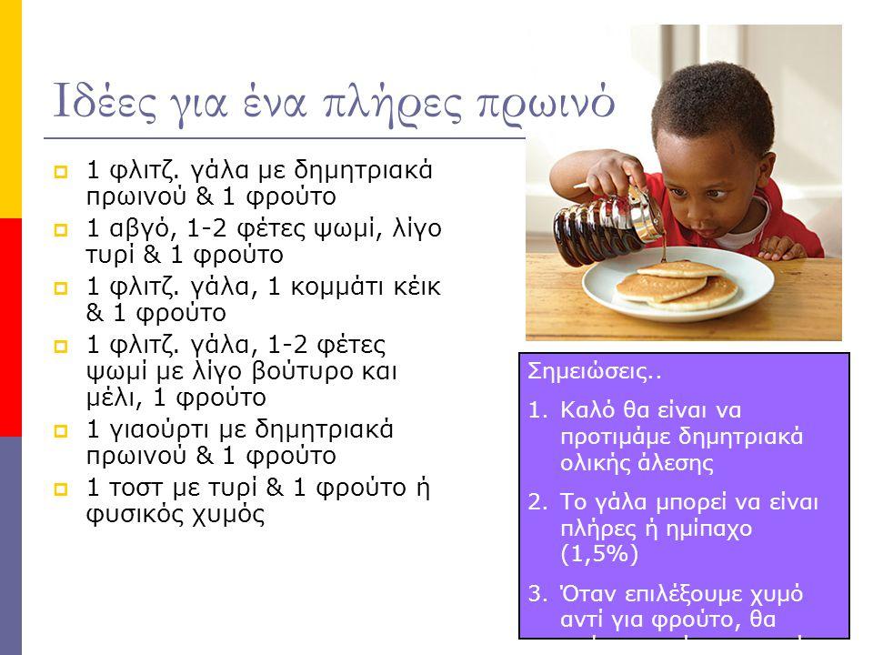 Ιδέες για ένα πλήρες πρωινό  1 φλιτζ. γάλα με δημητριακά πρωινού & 1 φρούτο  1 αβγό, 1-2 φέτες ψωμί, λίγο τυρί & 1 φρούτο  1 φλιτζ. γάλα, 1 κομμάτι