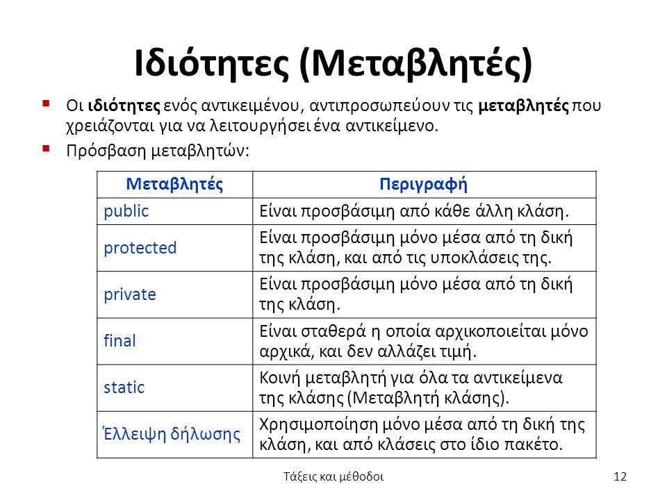 Ιδιότητες (Μεταβλητές)  Οι ιδιότητες ενός αντικειμένου, αντιπροσωπεύουν τις μεταβλητές που χρειάζονται για να λειτουργήσει ένα αντικείμενο.  Πρόσβασ