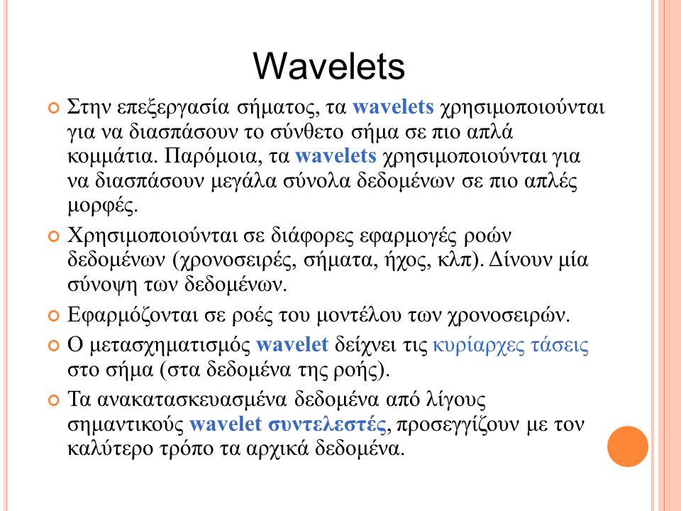 Στην επεξεργασία σήματος, τα wavelets χρησιμοποιούνται για να διασπάσουν το σύνθετο σήμα σε πιο απλά κομμάτια.