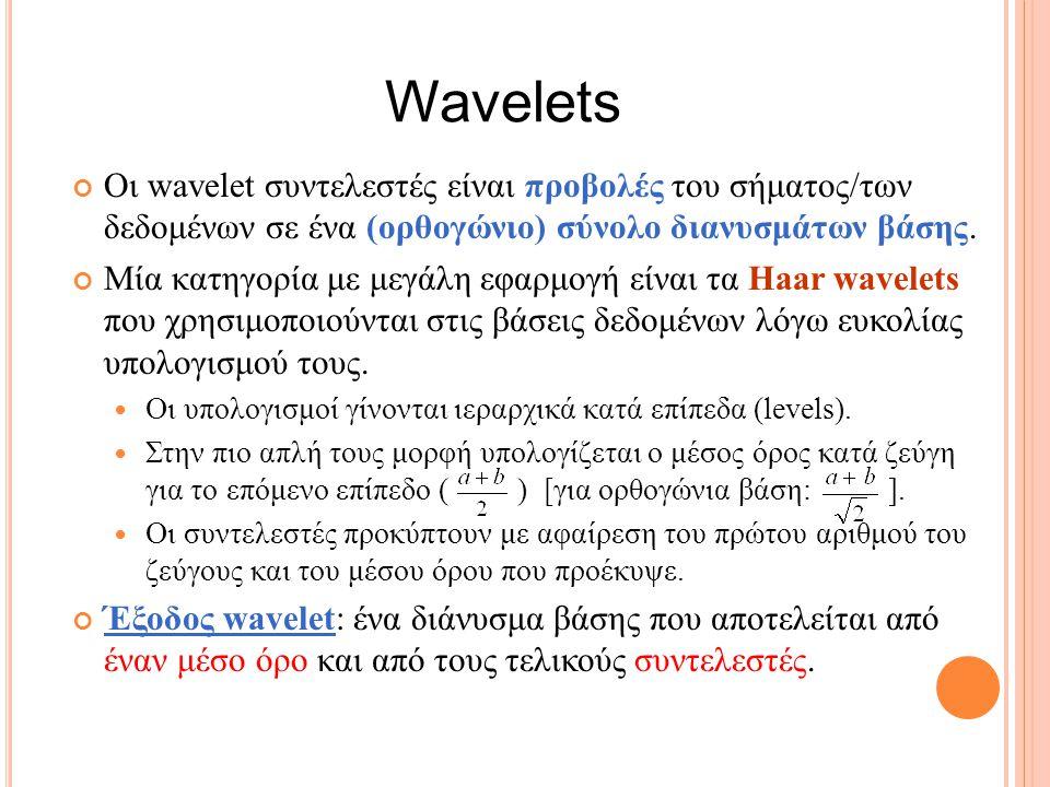 Wavelets Οι wavelet συντελεστές είναι προβολές του σήματος/των δεδομένων σε ένα (ορθογώνιο) σύνολο διανυσμάτων βάσης.