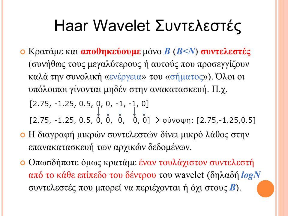 Haar Wavelet Συντελεστές Κρατάμε και αποθηκεύουμε μόνο B (Β<Ν) συντελεστές (συνήθως τους μεγαλύτερους ή αυτούς που προσεγγίζουν καλά την συνολική «ενέργεια» του «σήματος»).