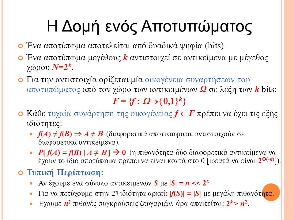 Η Δομή ενός Αποτυπώματος Ένα αποτύπωμα αποτελείται από δυαδικά ψηφία (bits).