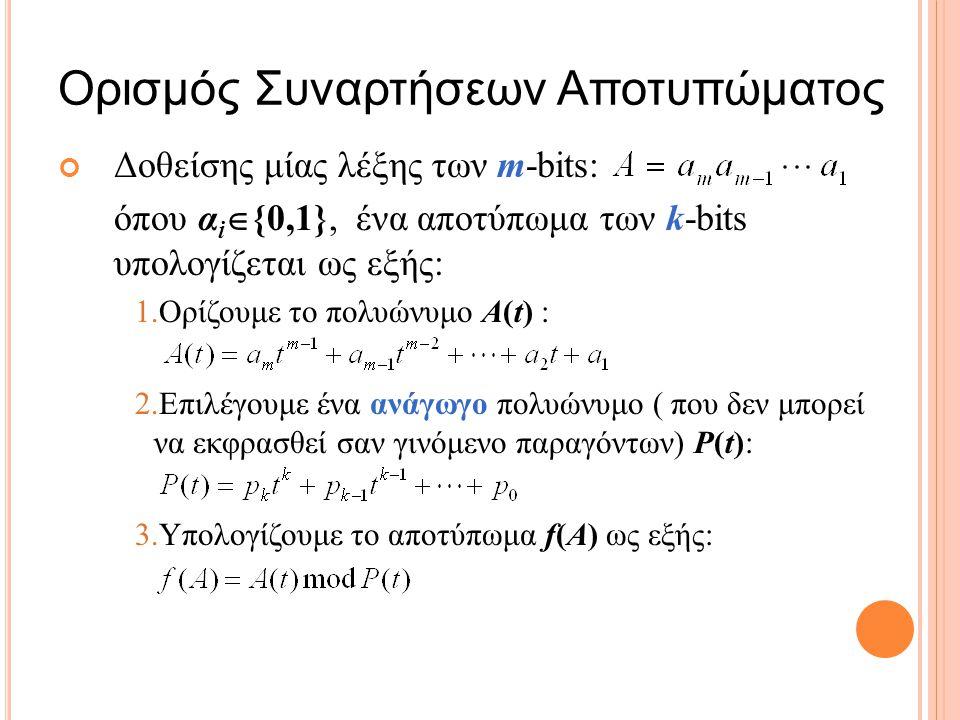 Δοθείσης μίας λέξης των m-bits: όπου α i  {0,1}, ένα αποτύπωμα των k-bits υπολογίζεται ως εξής: 1.Ορίζουμε το πολυώνυμο A(t) : 2.Επιλέγουμε ένα ανάγωγο πολυώνυμο ( που δεν μπορεί να εκφρασθεί σαν γινόμενο παραγόντων) P(t): 3.Υπολογίζουμε το αποτύπωμα f(A) ως εξής: Ορισμός Συναρτήσεων Αποτυπώματος 6