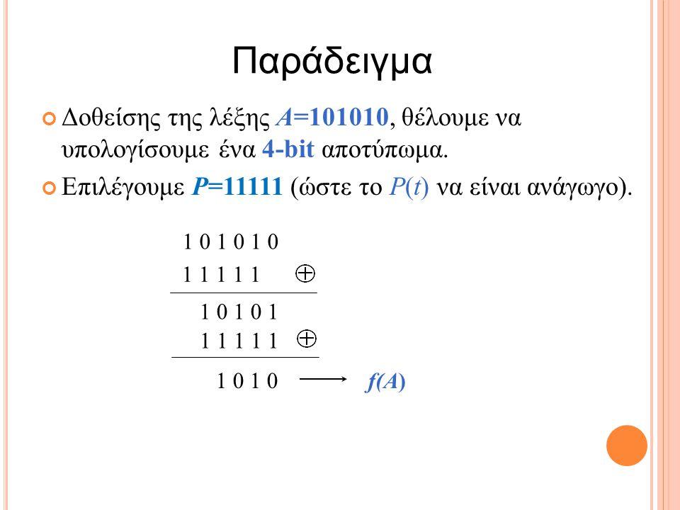 1 1 1 1 1 Δοθείσης της λέξης A=101010, θέλουμε να υπολογίσουμε ένα 4-bit αποτύπωμα.