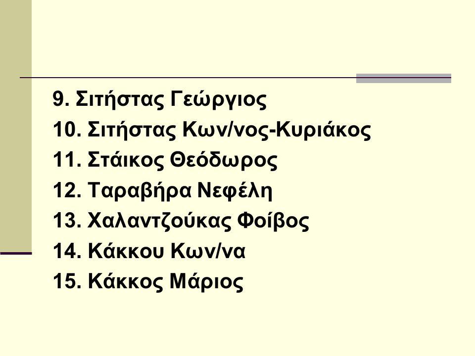 9.Σιτήστας Γεώργιος 10. Σιτήστας Κων/νος-Κυριάκος 11.
