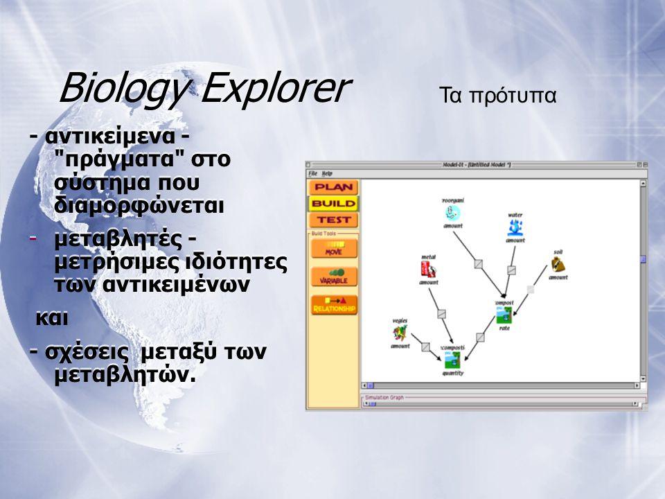 Biology Explorer - αντικείμενα - πράγματα στο σύστημα που διαμορφώνεται -μεταβλητές - μετρήσιμες ιδιότητες των αντικειμένων και - σχέσεις μεταξύ των μεταβλητών.