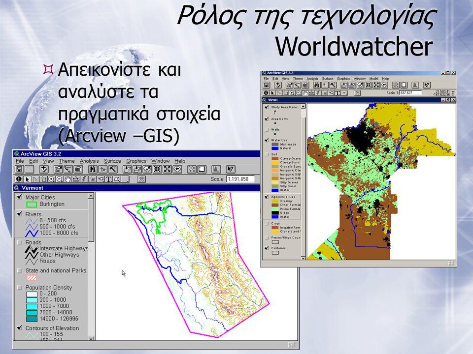 Ρόλος της τεχνολογίας Worldwatcher  Απεικονίστε και αναλύστε τα πραγματικά στοιχεία (Arcview –GIS)