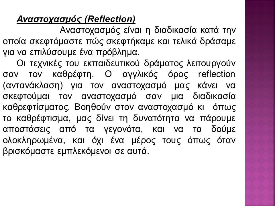 Αναστοχασμός (Reflection) Αναστοχασμός είναι η διαδικασία κατά την οποία σκεφτόμαστε πώς σκεφτήκαμε και τελικά δράσαμε για να επιλύσουμε ένα πρόβλημα.