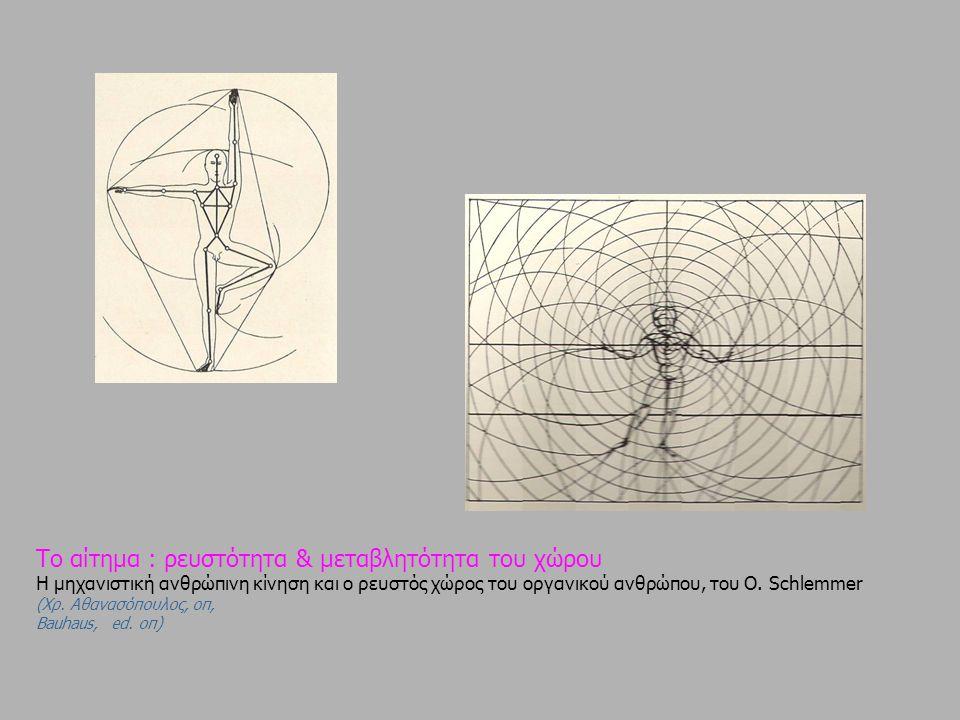 Το αίτημα : ρευστότητα & μεταβλητότητα του χώρου Η μηχανιστική ανθρώπινη κίνηση και ο ρευστός χώρος του οργανικού ανθρώπου, του Ο. Schlemmer (Xρ. Αθαν