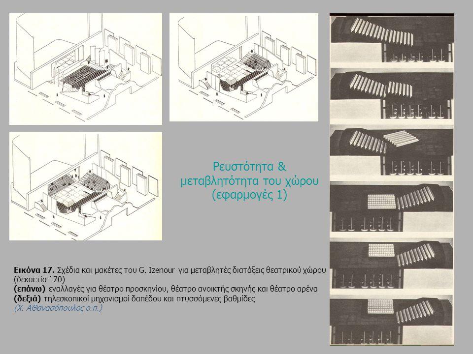 Eικόνα 17. Σχέδια και μακέτες του G. Izenour για μεταβλητές διατάξεις θεατρικού χώρου (δεκαετία `70) (επάνω) εναλλαγές για θέατρο προσκηνίου, θέατρο α