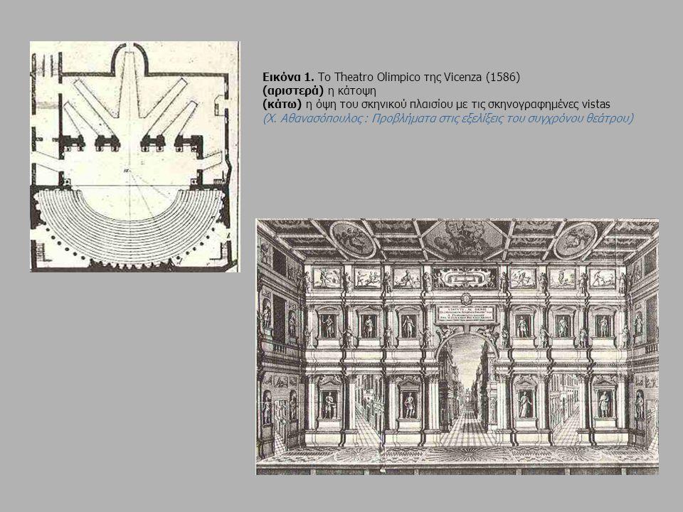 Εικόνα 1. Το Theatrο Olimpico της Vicenza (1586) (αριστερά) η κάτοψη (κάτω) η όψη του σκηνικού πλαισίου με τις σκηνογραφημένες vistas (Χ. Αθανασόπουλο