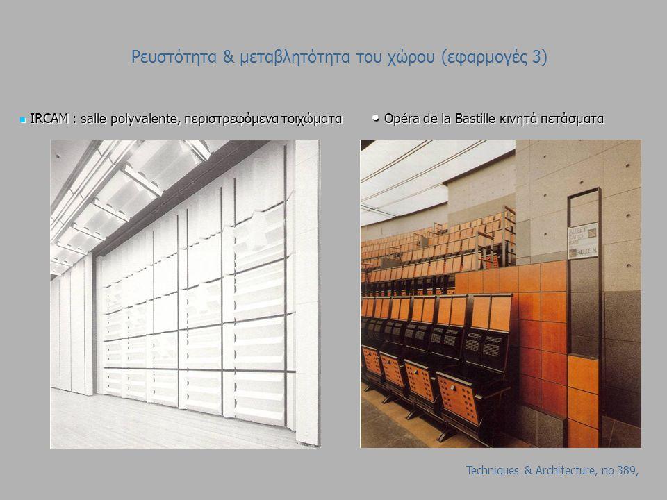 Ρευστότητα & μεταβλητότητα του χώρου (εφαρμογές 3) I IRCAM : salle polyvalente, περιστρεφόμενα τοιχώματα O Opéra de la Bastille κινητά πετάσματα Techniques & Architecture, no 389,