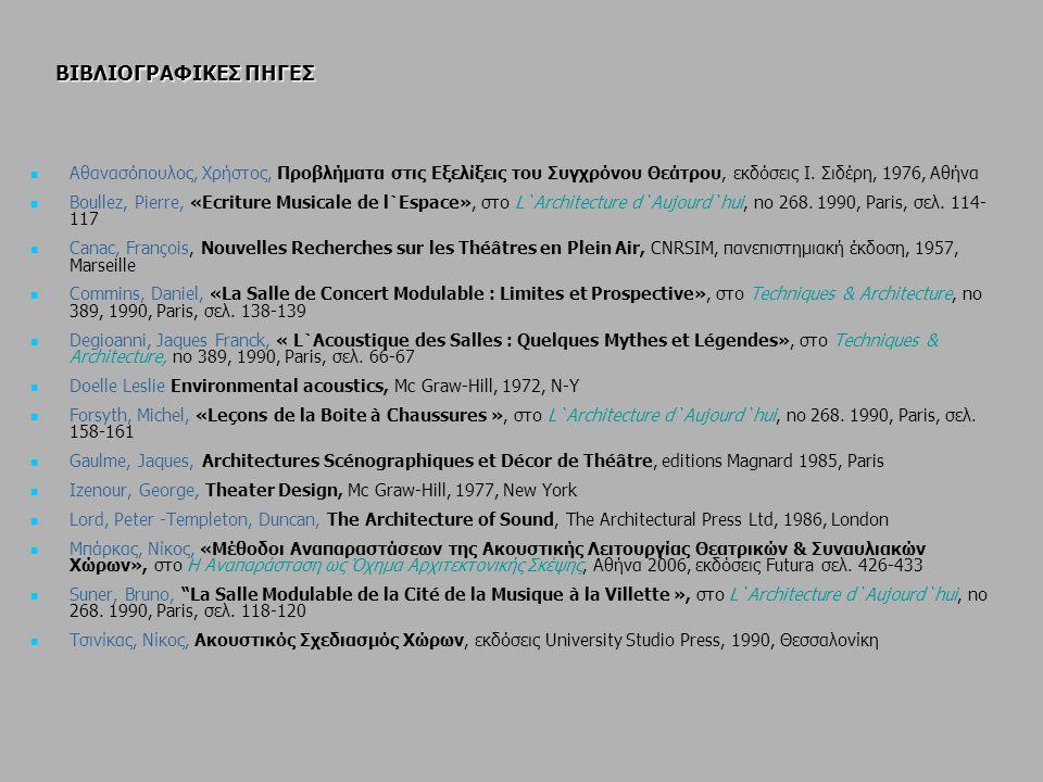 ΒΙΒΛΙΟΓΡΑΦΙΚΕΣ ΠΗΓΕΣ Αθανασόπουλος, Χρήστος, Προβλήματα στις Εξελίξεις του Συγχρόνου Θεάτρου, εκδόσεις Ι. Σιδέρη, 1976, Αθήνα Boullez, Pierre, «Ecritu