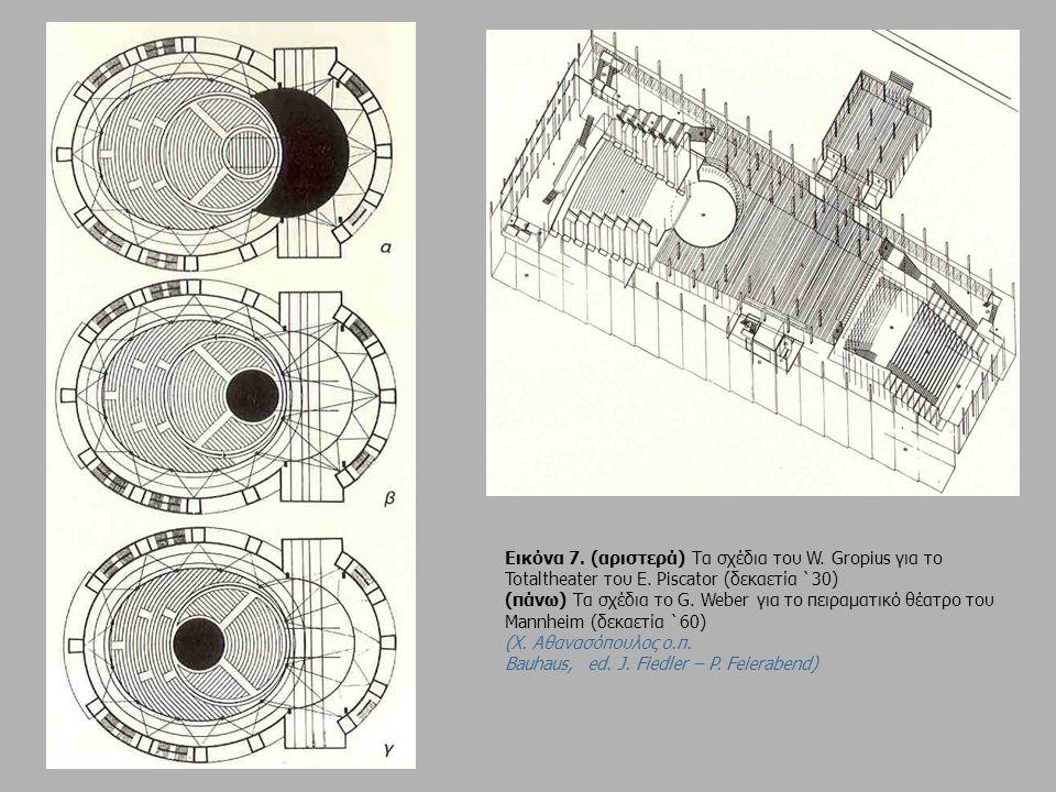 Εικόνα 7. (αριστερά) Τα σχέδια του W. Gropius για το Totaltheater του E. Piscator (δεκαετία `30) (πάνω) Τα σχέδια το G. Weber για το πειραματικό θέατρ
