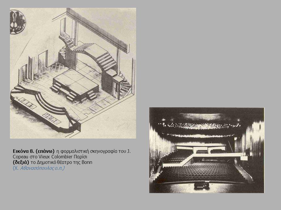 Εικόνα 8. (επάνω) η φορμαλιστική σκηνογραφία του J. Copeau στο Vieux Colombier Παρίσι (δεξιά) το Δημοτικό θέατρο της Bonn (X. Αθανασόπουλος ο.π.)