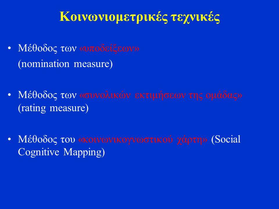 Κοινωνιομετρικές τεχνικές Μέθοδος των «υποδείξεων» (nomination measure) Μέθοδος των «συνολικών εκτιμήσεων της ομάδας» (rating measure) Μέθοδος του «κοινωνικογνωστικού χάρτη» (Social Cognitive Mapping)