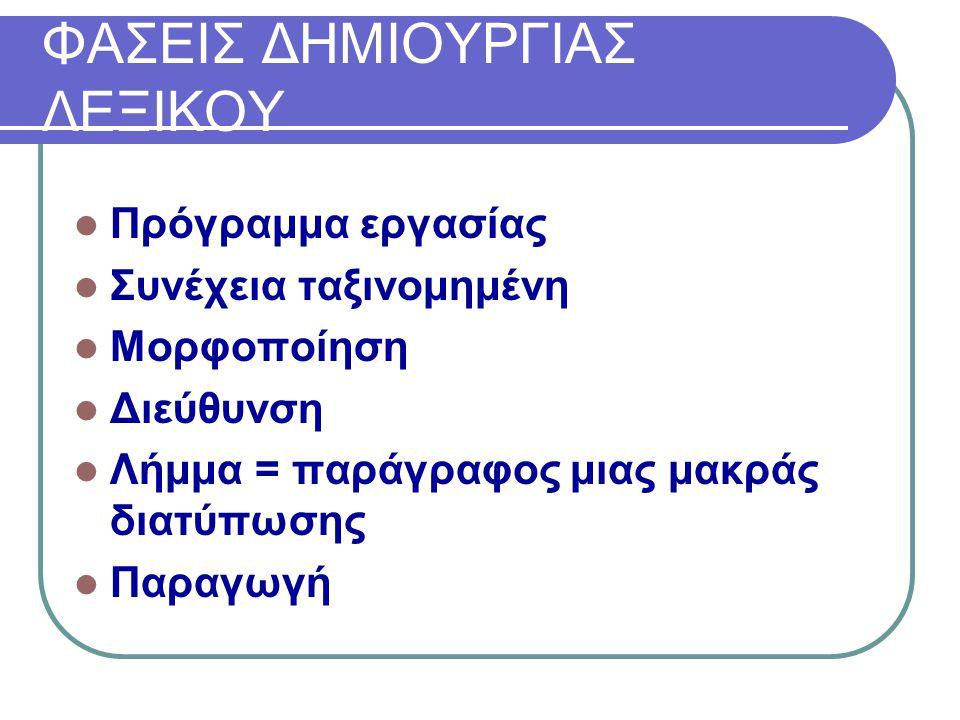 ΦΑΣΕΙΣ ΔΗΜΙΟΥΡΓΙΑΣ ΛΕΞΙΚΟΥ Πρόγραμμα εργασίας Συνέχεια ταξινομημένη Μορφοποίηση Διεύθυνση Λήμμα = παράγραφος μιας μακράς διατύπωσης Παραγωγή